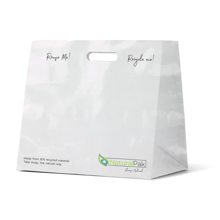 Picture of NaturalPak Brand - Recyclable White Plastic Takeaway Bags